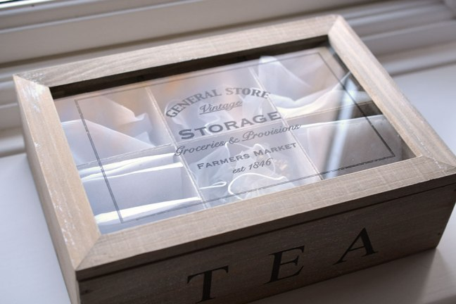 Wooden box of tea